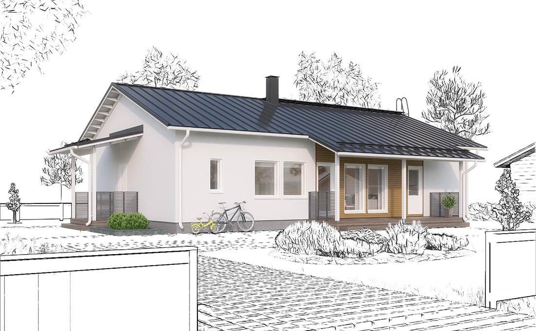 Julkisivukuva - Ainoakoti, Yksilöllinen moderni 1-krs talo 136 m²