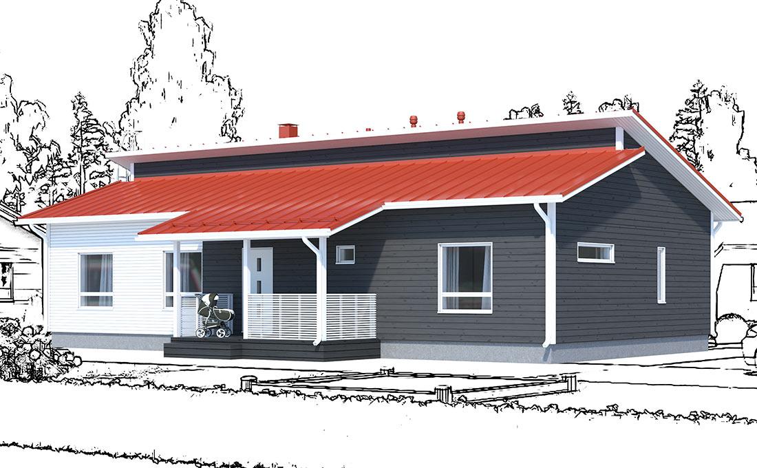 Julkisivukuva - Ainoakoti, Ainoa Aika 139 mallista hieman muokattu talomalli